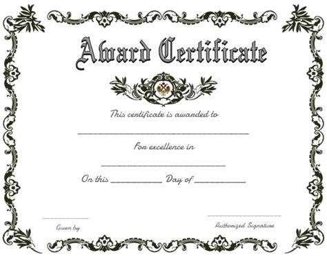 award template free printable award certificates certificate234