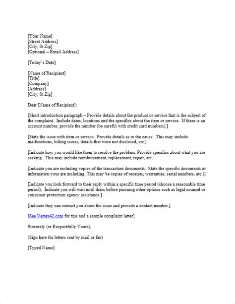 Complaint Letter About An Error In Credit Card Free Complaint Letter Template Sle Letter Of Complaint