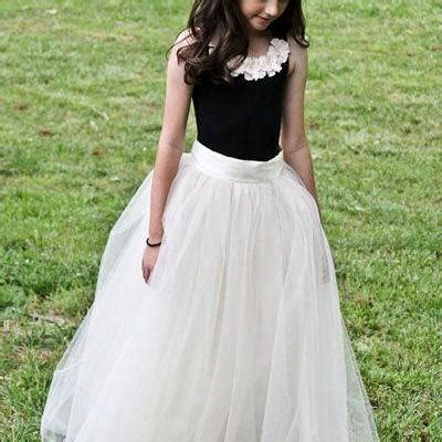Dress White Tulle Flow 2017 new flower s dresses sweep tulle ruffles black and white formal wear flow