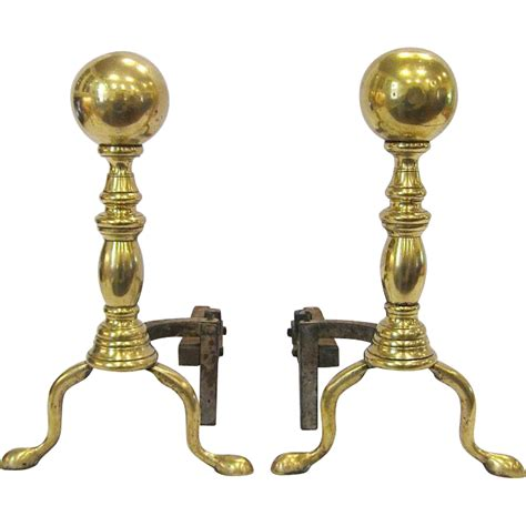 pair antique brass andirons from rubylane sold on