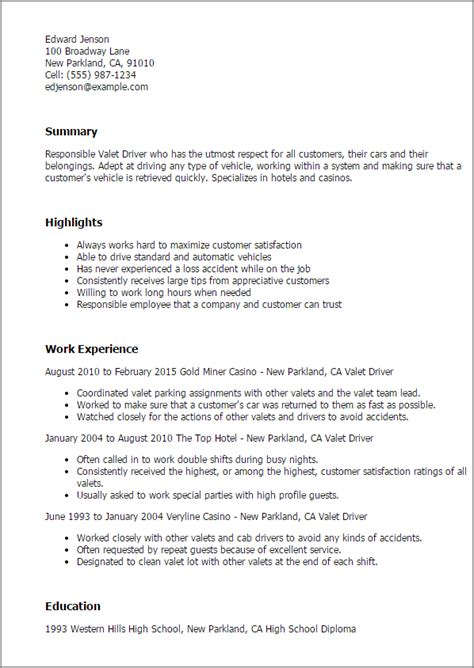 Valet Attendant Description by Valet Driver Resume Template Best Design Tips Myperfectresume