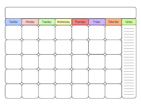 generic calendar template blank calendar templates sight word