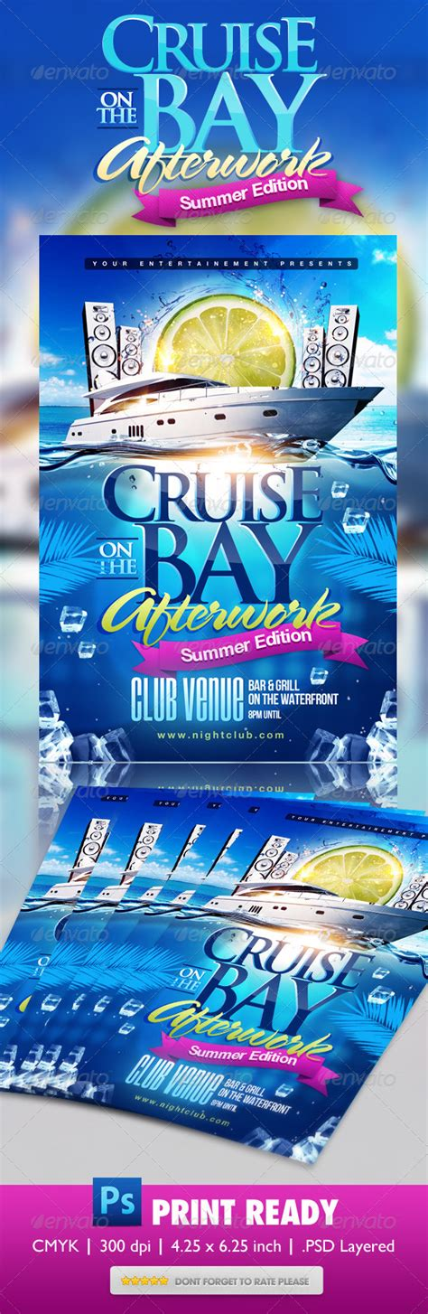 Summer Boat Cruise Party Flyer By Themediaroom Graphicriver Free Cruise Ship Flyer Template