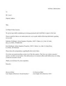 Authorization Letter Example For Bank Bank 3rd Party Letter Of Authorization Short Sale Template
