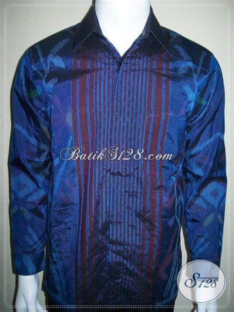 Blus Tenun Kombinasi 2in1 Biru tenun ikat pria warna biru keren model terbaru baju