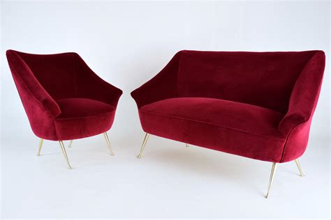 2 seater sofa and armchair vintage italian red two seater sofa and armchair set