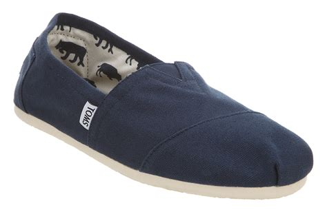 toms mens shoes mens toms classic slip ons navy canvas casual shoes ebay