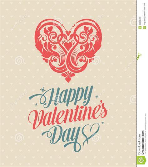 retro vintage happy valentines day greeting card stock