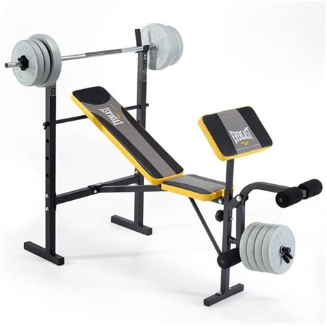 weights bench and weights set everlast ev115 starter weight bench with 30kg vinyl weight set
