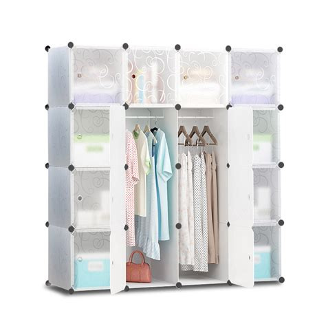 wardrobe storage cabinet white buy 16 cube portable storage cabinet wardrobe white