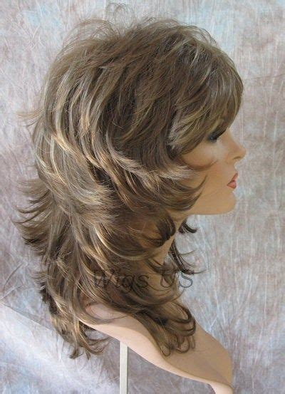 pics long choppy layered hairstyles with bangs wigs medium wig light brown dark blonde wavy multi layers