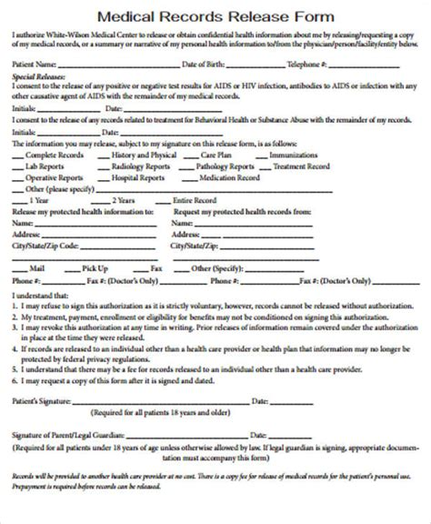 release for records form record release form sle 9 exles in word pdf