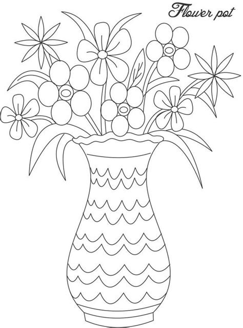 coloring pages of flowers in a vase best photos of vase pattern color page flower vase