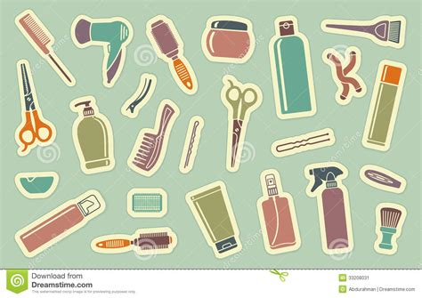 hairstyle tools reviews shopping hairstyle hairdresser s accessories on stickers stock vector image