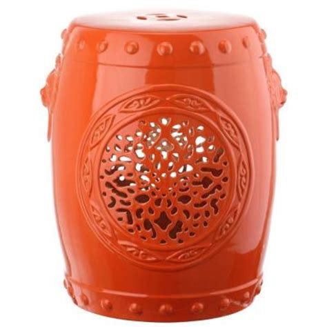 safavieh flower drum orange garden patio stool acs4532d