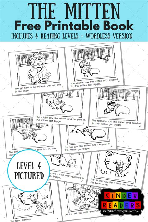printable pictures of books the mitten multilevel kinderreaders printable book a to