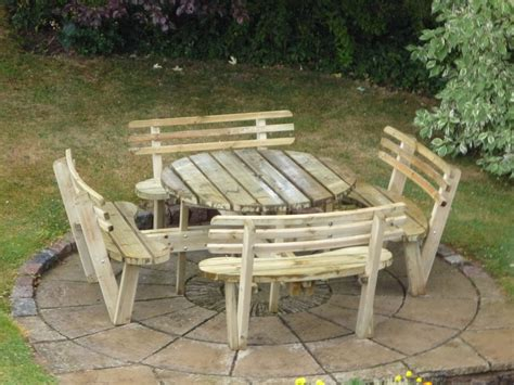 outdoor table with bench round 8 seat picnic bench garden table with seat backs cheap garden furniture at lsd