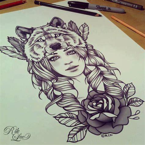 tattoo girl wolf sugar skull girl sugar skull girl drawing tumblr sugar