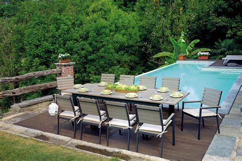 tavolo da giardino set da pranzo per giardino in alluminio e resin wood con