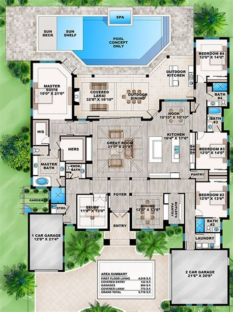 dream house plan pool included from coolhouseplans com dream house plans house and pool and patio on pinterest