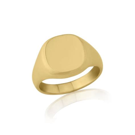 ring cusion 9kt yellow gold cushion signet ring