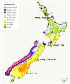 average rainfall map new zealand annual rainfall irrigation and drainage te