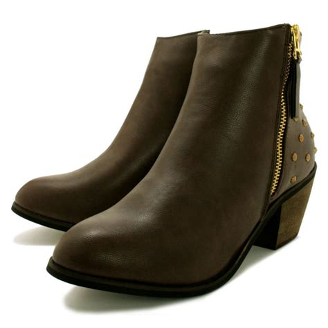 buy twilight cuban heel stud western ankle boots brown