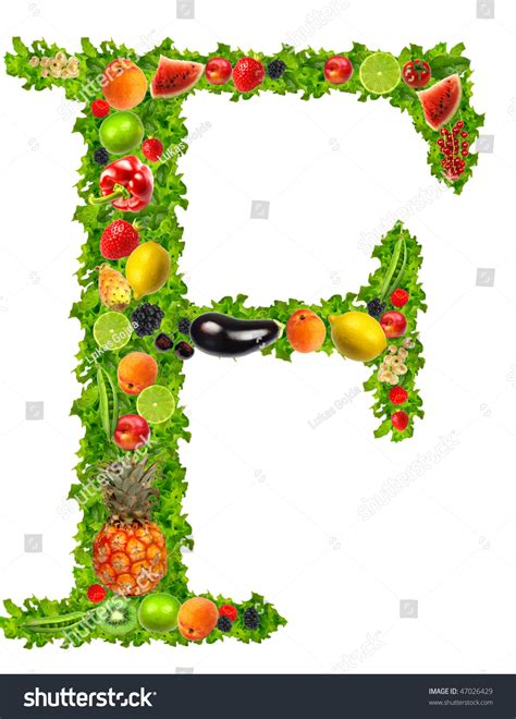 f fruits and vegetables fruit vegetable letter f stock photo 47026429
