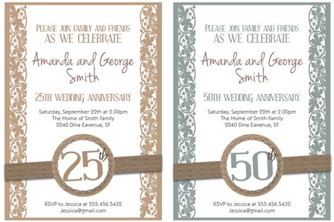 50th wedding anniversary invitations free templates 8 best images of free printable anniversary invitations