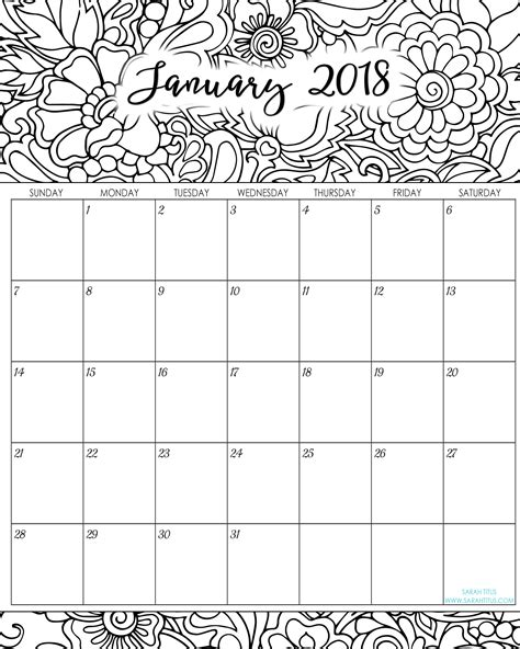 2018 coloring calendar monthly planner books 2018 monthly coloring calendars printables titus
