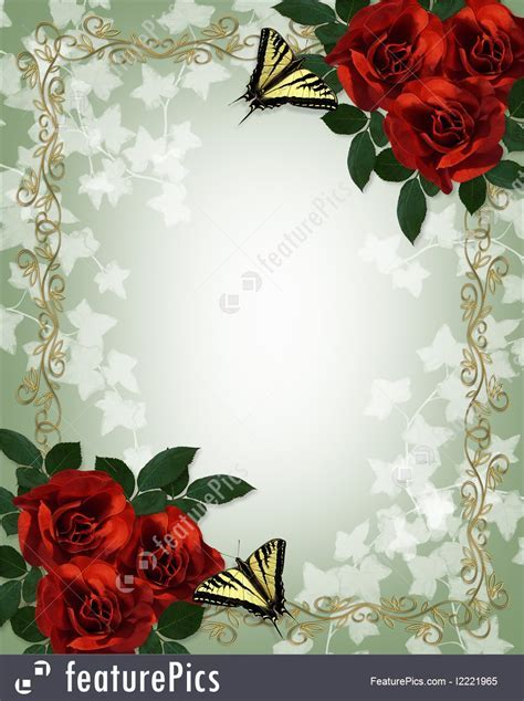 Templates: Red Roses Butterflies Border   Stock