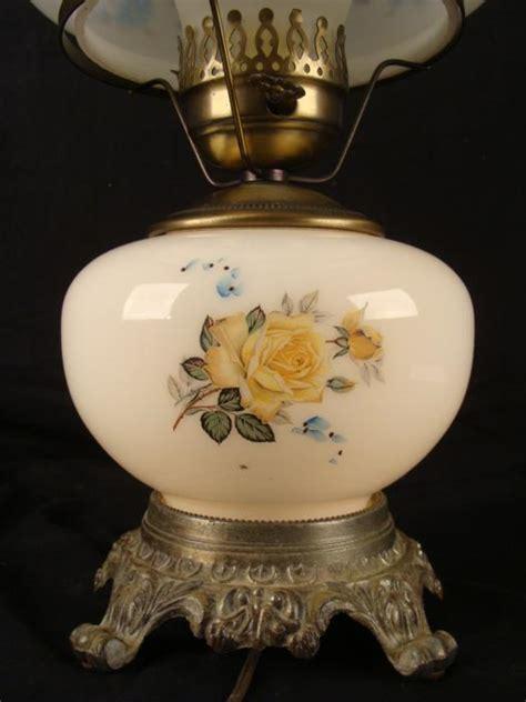 vintage floral hurricane l large vintage white glass floral hurricane l