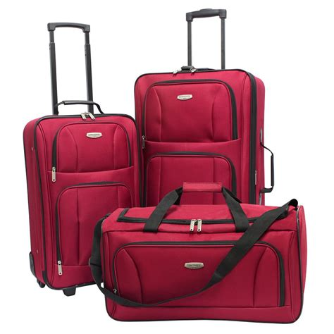 concourse southfield 3 piece luggage set red shop your