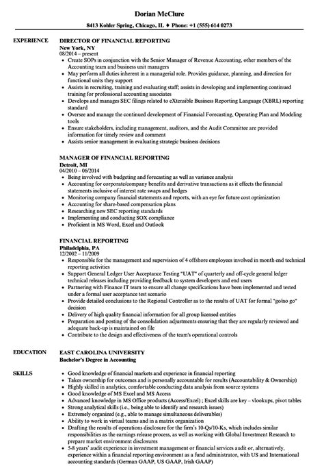 Financial Reporting Resume Template Financial Reporting Resume Sles Velvet