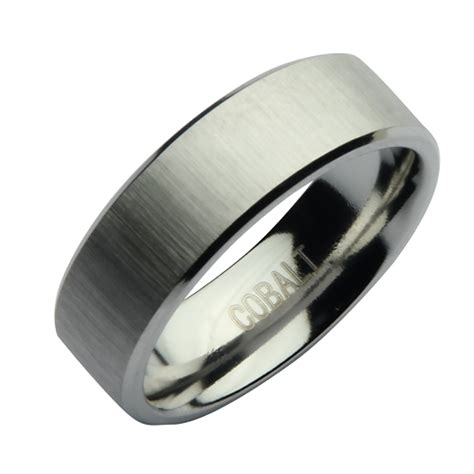 7mm Cobalt Satin Designed Wedding Ring Band   Cobalt Rings