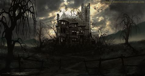 Gothic Wall Murals haunted house by atomiccircus on deviantart