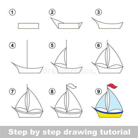 boat cartoon step by step drawing tutorial how to draw a boat stock vector