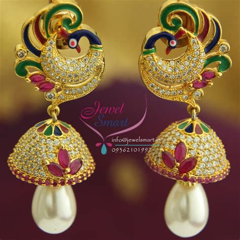 design earrings online j1429 peacock meenakari ruby cz pearl drops gold design