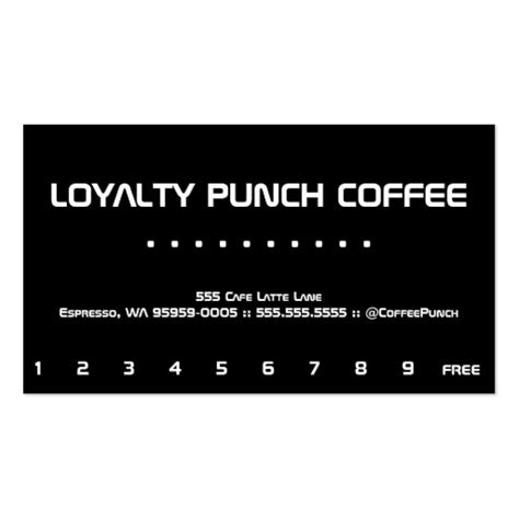 punch card template word loyalty coffee punch card business card templates zazzle