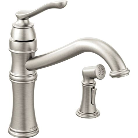 kitchen faucets moen moen 7245srs belfield spot resist stainless one handle with sidespray kitchen faucets efaucets