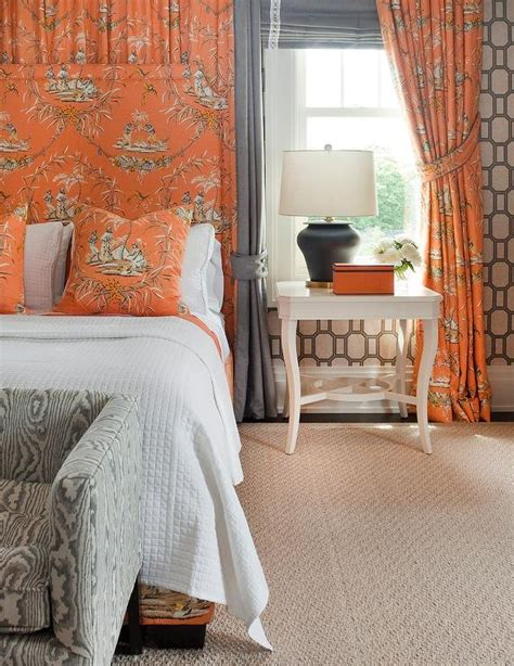 orange curtains for bedroom gray and orange bedroom with toile curtains behind bed