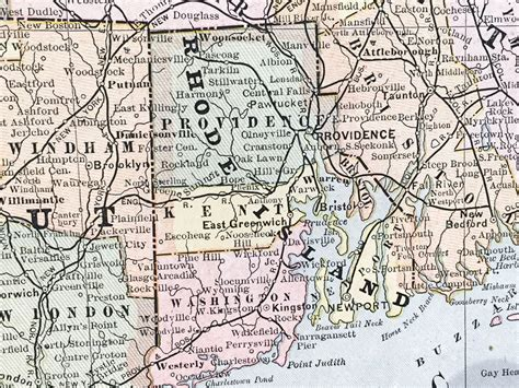 map of ri and ct massachusetts connecticut and rhode island state map 1886