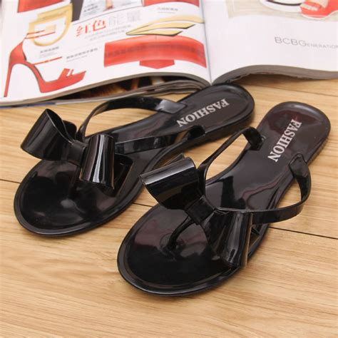 Bara Bara Jelly Shoes Flat Casual 1 aliexpress buy new summer jelly sandals s bowtie flower flat casual fashion