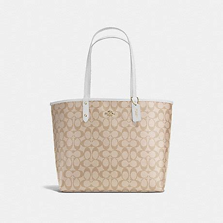 Coach Reversible Sign Chalk reversible city tote in signature f36658 imitation