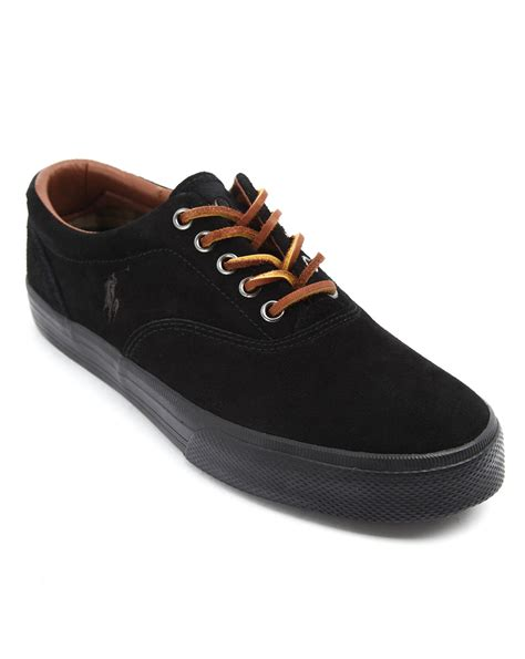 black polo sneakers polo ralph black suede sneakers in black for lyst