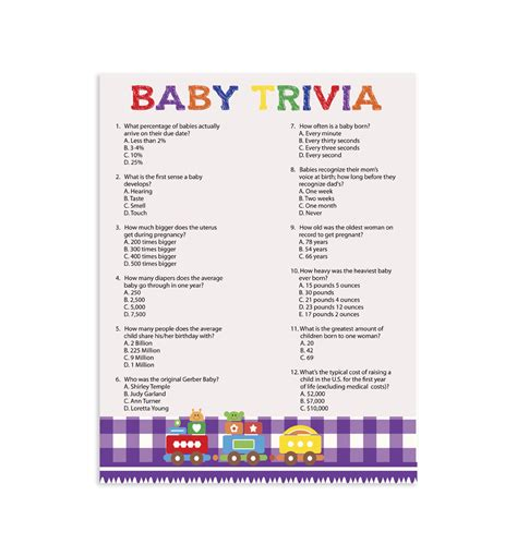 Baby Shower Trivia Printable by Printable Baby Shower Baby Trivia