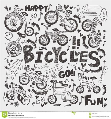 doodle element doodle bike element stock vector image of decorate
