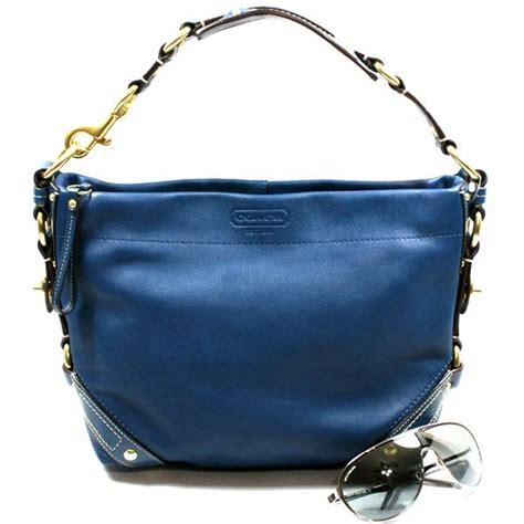 coach blue leather shoulder bag 10615 coach 10615