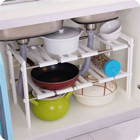 kitchen sink cabinet organizer under sink 2 tier expandable adjustable kitchen cabinet