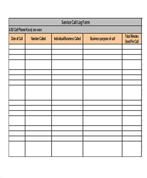 service call template 28 log templates in excel